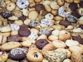 A lot of different cookies filling the whole picture, with different depth of field frame.