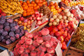 Lot of different fruits photography ripe at the market Royalty Free Stock Images