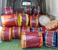 Lot of drums in the back the van Royalty Free Stock Photo