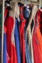 Colorful dresses on hangers Royalty Free Stock Photo