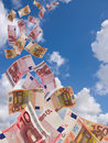 Lot of flyinq away banknote on  a sky background Stock Images