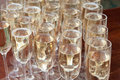 A lot of glasses with champagne
