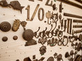 A lot of hooks on wood decorate Royalty Free Stock Photos