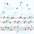 A lot little birds sing a song on line vector