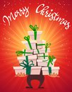 Merry Christmas poster card with callygraphy lettering and cartoon style many gifts stack , ribbon bow on box presents. funny part Royalty Free Stock Photo