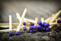 A lot of matchstick on textured wood background Stock Photography
