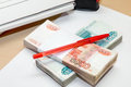 A lot of money, a clean sheet of paper and a pen on the table Royalty Free Stock Photo