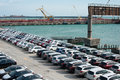 A lot of new cars toyota corolla and Subaru Forester are unloaded at the seaport Royalty Free Stock Photo