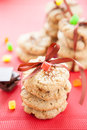 A lot of oatmeal cookies and beautifully decorated Royalty Free Stock Photos