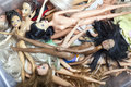 A lot of old dolls broken Royalty Free Stock Images