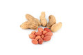 A lot of peanuts on isolated over white background Stock Image