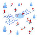 stock image of  Lot of people skiing around words `Ski Resort`