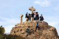 Lot people standing highest point park guell barcelona making pictures other make film climbing stairs Stock Photos