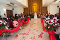 A lot of people in wedding ceremony in the church Stock Images