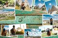 stock image of  A lot of pictures on the wooden surface. Travel memories of Turkey. Next to the photos is a place for text. These are my