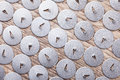 Lot of pushpin top view on wooden surface macro background Royalty Free Stock Photo