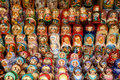 A lot of Russian nesting dolls Royalty Free Stock Photo