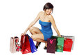 Lot of shopping bags happy woman and a Royalty Free Stock Image