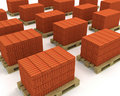 Lot of stacks of orange bricks on pallets Royalty Free Stock Photos
