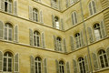 Lot of windows on two walls Royalty Free Stock Photo