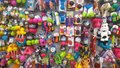 Lots of animal pet toys at supermarket