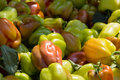 Lots of bell peppers on a market in greece Stock Photography