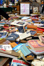 Lots of books in flea market Royalty Free Stock Photography