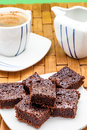 Lots of brownies chocolate with coffee selective focus Royalty Free Stock Images