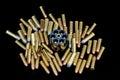 Lots of bullets and revolver loader Royalty Free Stock Photo