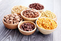 Lots of cereals bowl full various diet and breakfast Stock Photography