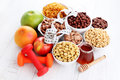 Lots of cereals bowl full various diet and breakfast Royalty Free Stock Photos