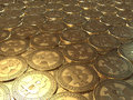 Lots of coins bitcoin symbolic image virtual currency Stock Photos