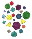 Lots of colorful dices for rpg, tabletop or board games Royalty Free Stock Photo