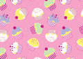 Lots of cup cakes vector illustration in a repeat pattern Royalty Free Stock Photography