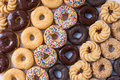 Lots of donuts in rows Royalty Free Stock Image