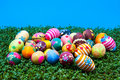Lots of easter eggs on cress Stock Photography