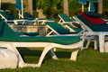 Lots empty sun loungers Royalty Free Stock Photos