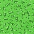 Lots of flying money Wallpaper dollars, green background of falling money, rain pattern, seamless texture