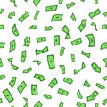 Lots of flying money Wallpaper dollars, green background of falling money, rain pattern, seamless texture