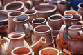 Lots of handmade clay pot, bowl and mug. Royalty Free Stock Photo