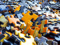 Lots of jigsaw puzzle pieces Royalty Free Stock Photo