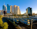 Lots of melbourne trains several heading out on a sunny morning Royalty Free Stock Photo