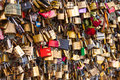 Lots of Padlocks On Bridge over the Seine, Paris France, symbolizing Love and Trust Royalty Free Stock Photo