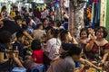 Lots of people in outdoor restaurants, Hanoi, Vietnam