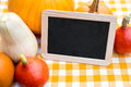 Lots of Pumpkins and Slate with Copyspace Royalty Free Stock Photo