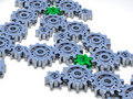 Lots of silver gears with two green Royalty Free Stock Image