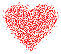 Lots of small Red Hearts composed in one heart shape, decoration for greeting cards about love.