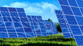 Lots of Solar Panels with blues sky ,outdoor Royalty Free Stock Photo