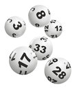 Lottery abstract illustration of dynamically falling balls Royalty Free Stock Images