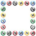 Lottery balls colourful square frame, vector illustration Royalty Free Stock Photo